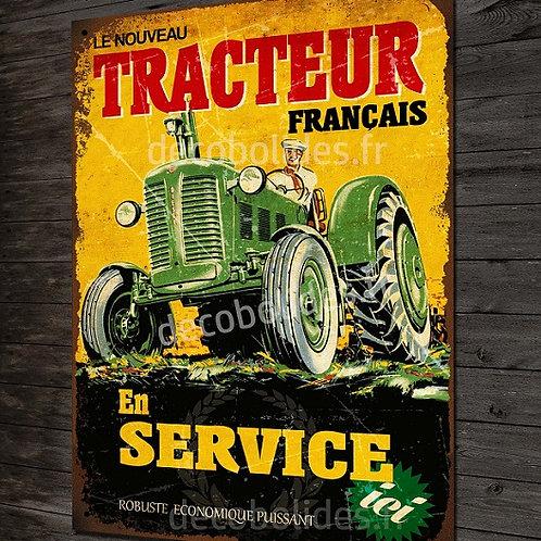 """Plaque métal déco Tracteur vintage """"le nouveau tracteur Français"""""""