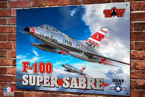Plaque métal déco F-100 Super Sabre US Air Force century series  aviation US
