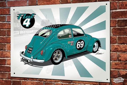 Plaque métal déco Flat 4 Volkswagen Cox 69 ,de l 'illustrateur Ivan BROSSARD