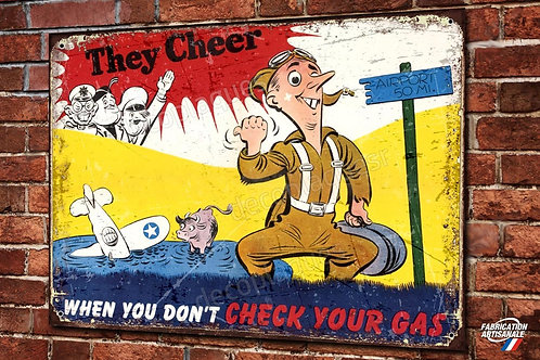 """Plaque métal déco reproduction poster pilote WW2 US Air Force """"check your gas"""""""