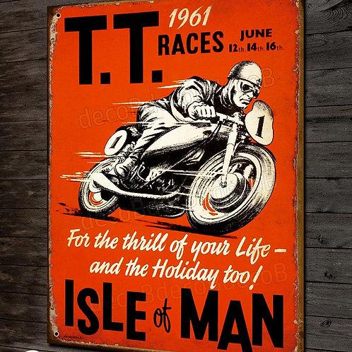 Plaque métal déco TT races Isle of Man 1961, déco garage moto rétro
