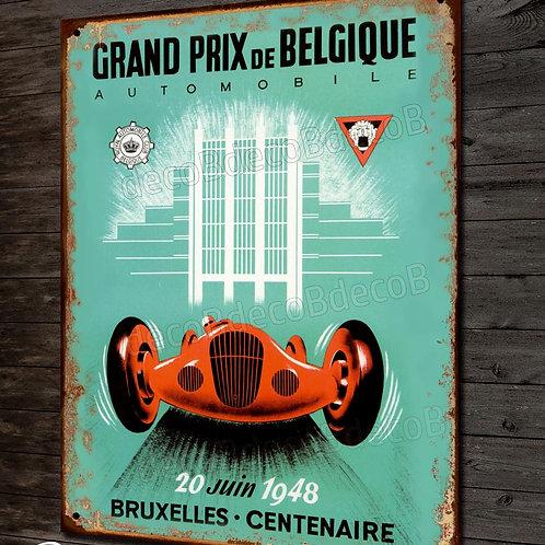 """Plaque métal déco reproduction ancienne affiche"""" Grand prix auto de Belgique"""""""