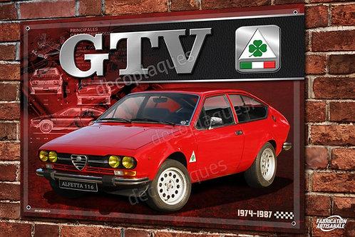"Plaque métal déco Alfa Romeo Alfetta GTV série 1 "" inox"" déco garage rétro"