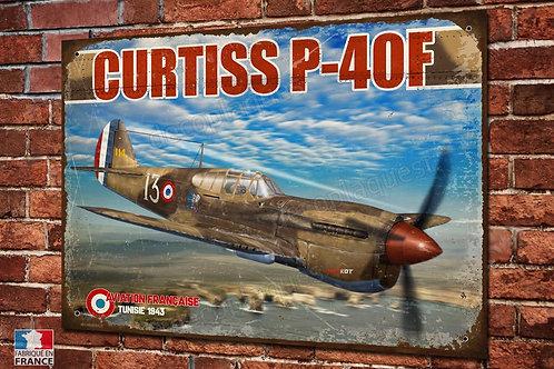 Plaque métal déco Curtiss P-40F Armée de l'air Française libre, Warbird WW2