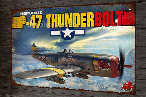 Plaque métal déco republic P-47 thunderbolt fighter WW2 USAF warbird