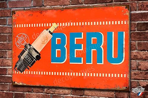 Plaque métal ancienne publicité bougie BERU , décoration garage vintage