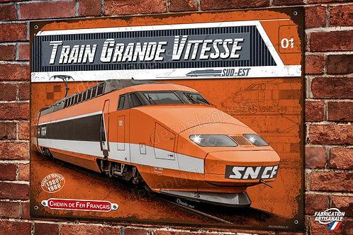 Plaque métal déco Locomotive électrique TGV sud-est ,Train Français SNCF.