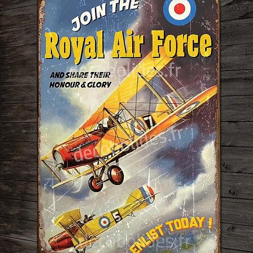 Plaque métal déco Biplan bristol F2 royal air force 14-18 chasseur avion Anglais