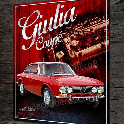 Plaque métal déco Alfa Romeo Giulia coupé Bertone, Sprint GT, junior, Veloce, GT
