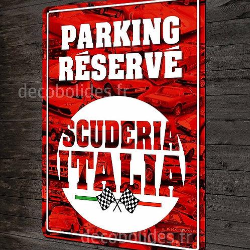 Plaque métal déco parking réservé Scuderia Italia  garage Lancia Fiat ALFA Romeo