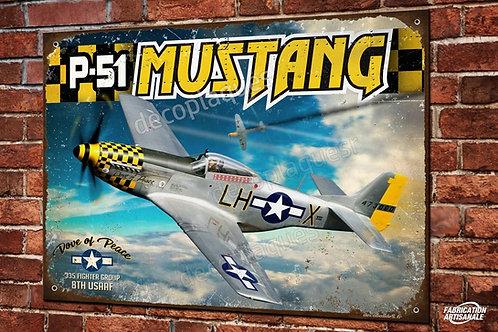 "Plaque métal déco P-51 mustang jaune ""Dove of peace"" Warbird avion WW2"