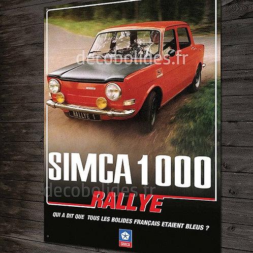 Plaque métal Simca 1000 rallye, déco garage ancienne simca