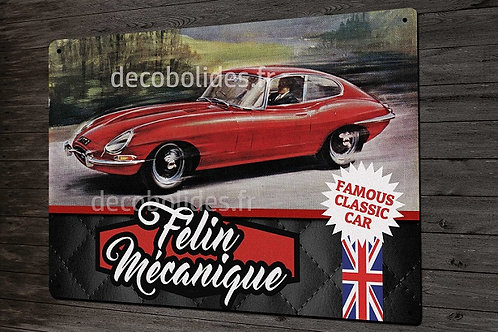 """Plaque métal déco style vintage """" Félin mécanique """" jaguar type-E"""