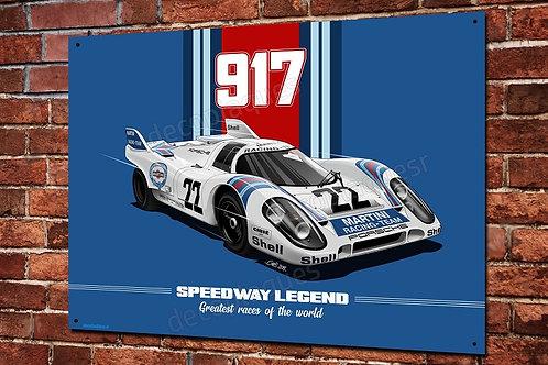 Plaque métal Porsche 917 racing legend artwork Christophe Clérici
