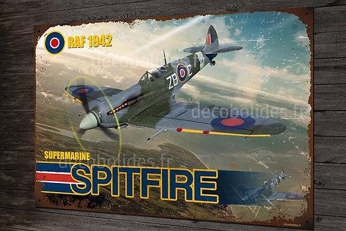 Plaque métal déco avion Spitfire supermarine RAF 1942 chasseur WW2