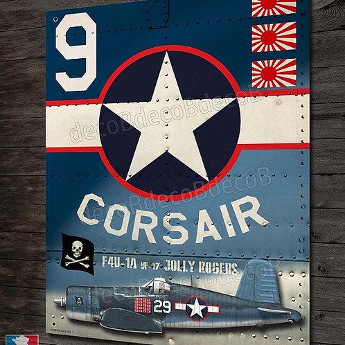 "Plaque métal avion chasseur chance vought F4-U corsair  jolly rogers "" WW2"