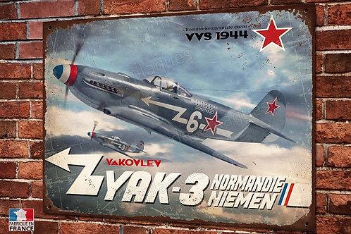 Plaque métal déco yakovlev yak-3 normandie-niemen warbirds ww2 fighter