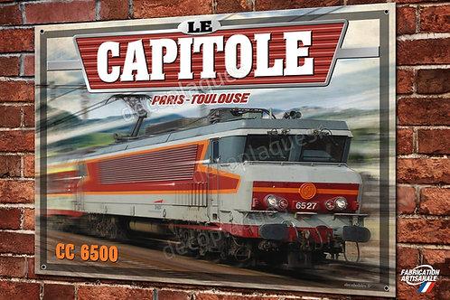 """Plaque métal déco Locomotive CC 6500 Train SNCF """"le Capitole"""""""