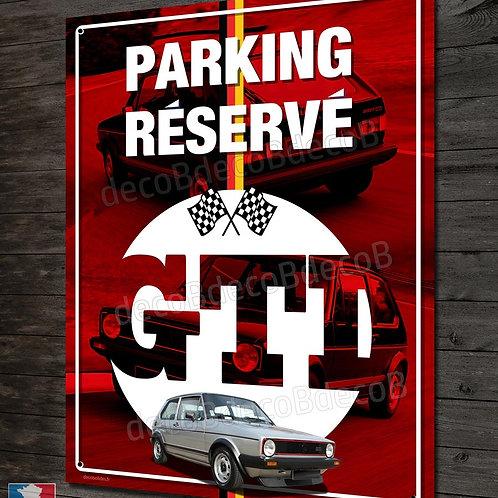 """Plaque métal déco VW Golf GTI série 1 """"parking réservé"""" , déco garage youngtimer"""