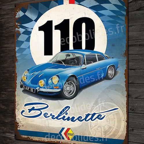 Plaque métal Alpine Berlinette classic déco garage vintage artwork A110