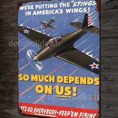 plaque métal déco repro affiche vintage US Air Force P-39 Airacobra WW2