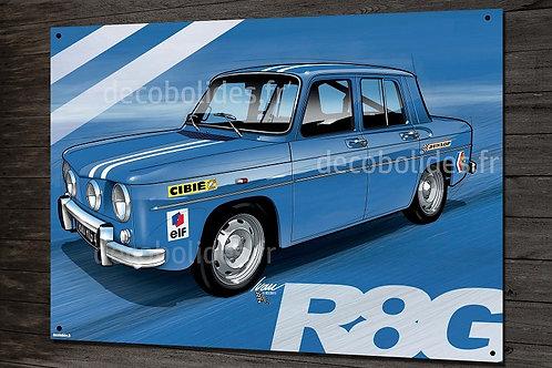 Plaque métal Renault R8 gordini R8G, déco garage vintage, artwork Ivan Brossard