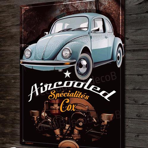 """Plaque métal déco""""Volkswagen Cox Coccinelle""""bleus et Rouille"""" garage VW vintage"""