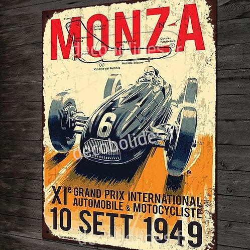 Plaque métal déco grand prix d'Italie à Monza en 1949 avec Ferrari, Maserati, Ta