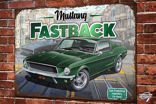Plaque métal Ford mustang  Fastback