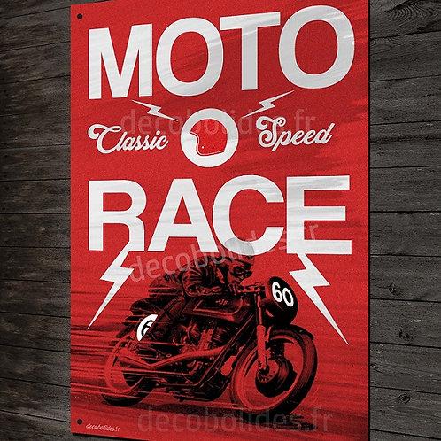 Plaque métal Moto race 60, déco garage motard vintage