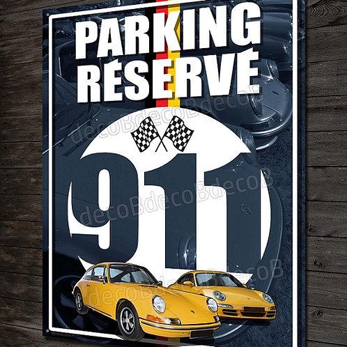 Plaque métal déco Parking réservé Porsche 911 FLAT 6, déco garage Porsche