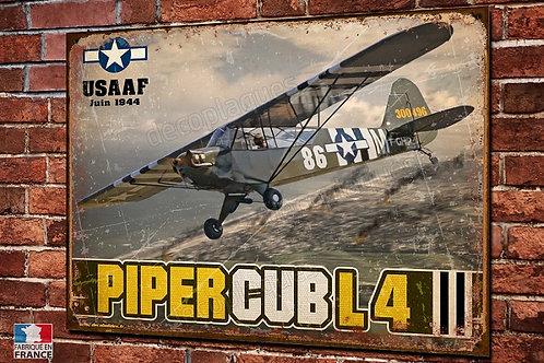 Plaque métal déco Piper Cub L4 USAAF débarquement Normandie 1944 WW2