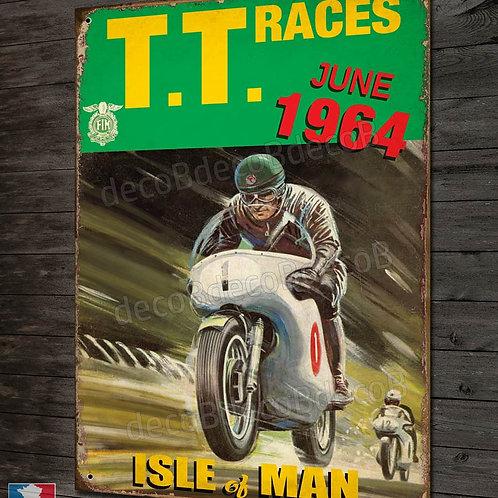 Plaque métal déco TT races Isle of Man june 1964 affiche moto rétro