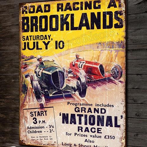 """Plaque métal , reproduction affiche vintage course """"Grand prix auto Brooklands"""""""