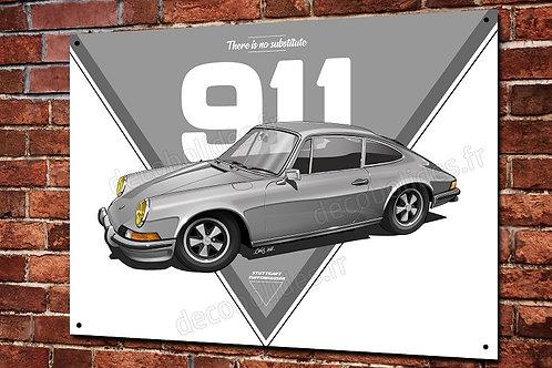 Plaque métal Porsche 911classic grise déco garage  artwork Christophe Clérici