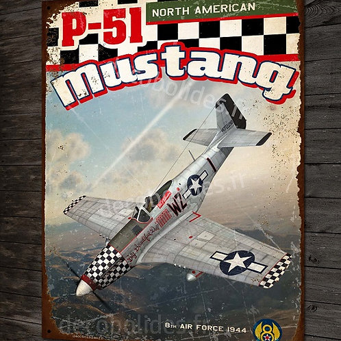 Plaque métal déco P-51 mustang rouge north american fighter 8th air force