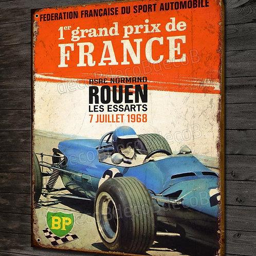 Plaque métal déco affiche vintage Grand prix de France , Rouen 1968