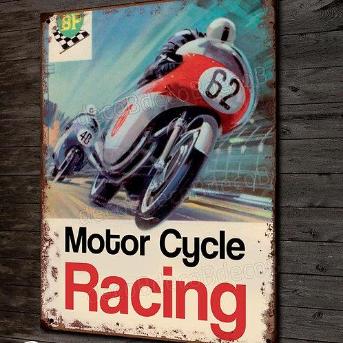 Plaque métal déco motor cycle racing, déco garage course moto année 60.