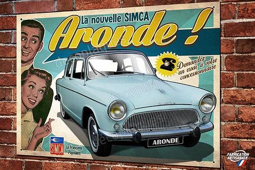 """Plaque métal SIMCA """" La nouvelle Aronde """"(bleu) déco garage vintage collection"""