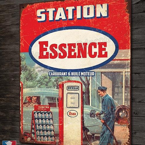 Plaque métal station Essence, inspiration plaque émaillée vintage déco garage