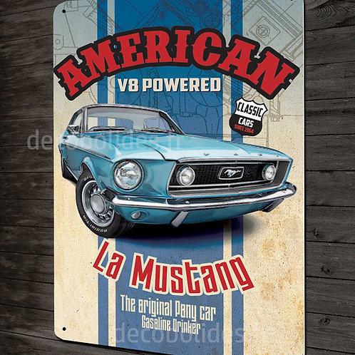 Plaque métal déco Ford Mustang American V8, déco garage US vintage & collection