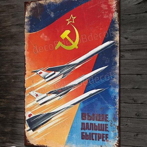 Plaque métal déco reproduction affiche de propagande aviation soviétique vintage