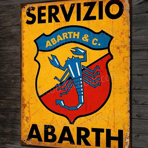 """Plaque métal déco,"""" Servizio abarth """" déco garage voiture collection"""