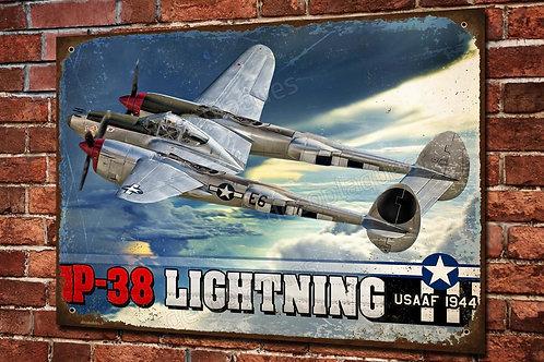 Artwork warbird P-38 Lightning WW2 imprimée sur plaque métal décorative.