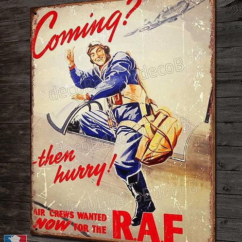 """Plaque métal déco Pilote chasseur Spitfire RAF """"Coming"""" avion WW2"""