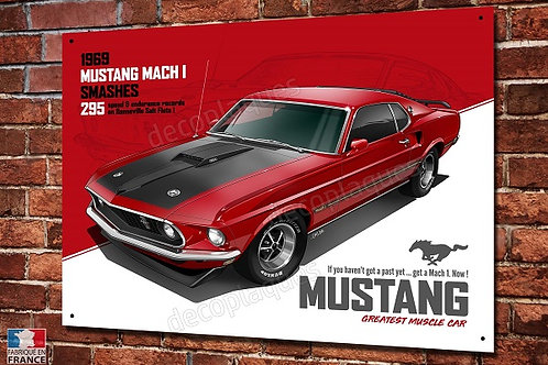 Plaque métal Ford Mustang Mach 1 déco garage V8, artwork Christophe Clérici