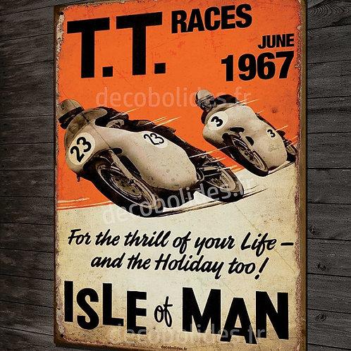 Plaque métal déco TT tourist trophy 1967, moto vintage île de Man.