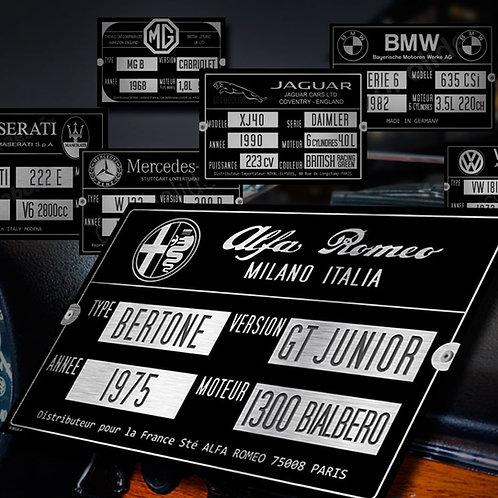 Plaque identité véhicule en alu 30x20cm, personnalisée pour votre auto !