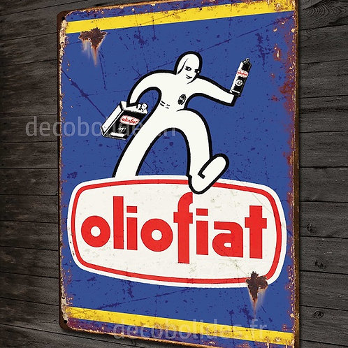 Plaque en Métal déco Publicité d'époque Olio fiat, déco garage voiture vintage