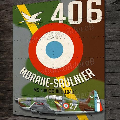 plaque metal déco Chasseur Français 2eme guerre mondiale Morane Saulnier MS 406